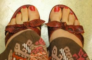 Red snakeskin sandals