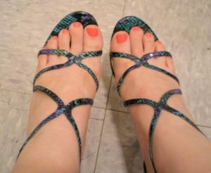Blue snakeskin Nina strappy sandals