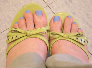 green patent leather sandals